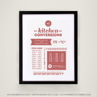 Kitchen Conversions - 11x17 typography print - kitchen measurements print - kitchen decor - house warming gift - conversions chart