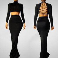 Hollow Out Prom Dress Women's Stylish Sexy Party Bandages Dress One Piece Dress [6338850305]