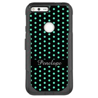 Cute Turquoise Dots Pattern Add your name OtterBox Commuter Google Pixel XL Case