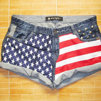 Make To Order for Annai - Vintage High Waist  American Flag Gold Circle Studded Cut Off Shorts