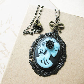 Victorian Gothic Lady Skeleton Necklace - Lenore - Love After Death - Blue on Black