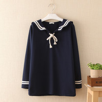 Japanese school uniform Lolita shirt 2017 mori girls autumn winter fresh long sleeve sailor collar navy blue blouse blusa tops