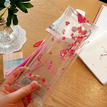 Red apricot blossoms clear folding pencil case