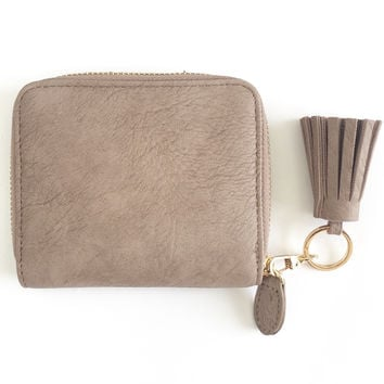 Tiny Tassel Wallet in Mauve