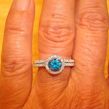 Diamond Cut Aquamarine And White Sapphires 925 Sterling Silver Halo Engagement Wedding Ring Set
