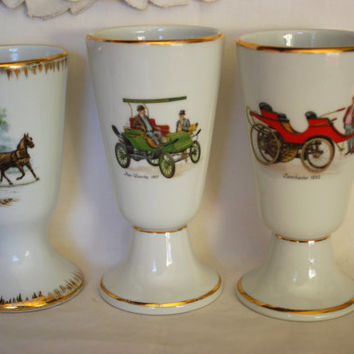 Barware Set of 3 Tumblers  with Antique Cars and Horses  , Collectible Cars and Horse Carriage  Vintage