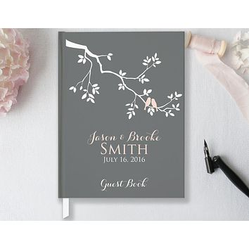 Wedding Guest Book, Hardcover, Wedding Tree & Lovebirds, Choice of Sizes & Colors
