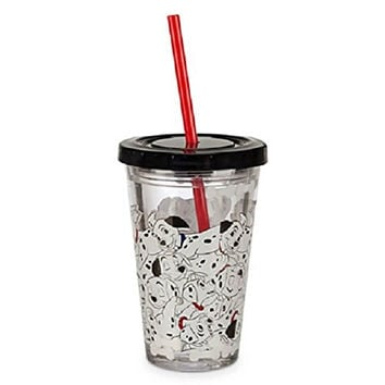 Disney Store 101 Dalmatians Acrylic Tumbler Straw Fast Food Cup 2014 Small