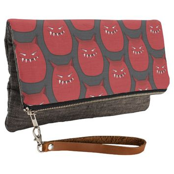 Red Evil Monster With Pointy Ears Pattern Clutch