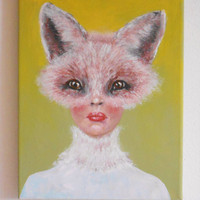 Painting of women Foxy Lady - Fox Fantasy  - Original Painting on Canvas