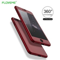 FLOVEME 360 Degree Cases For iPhone 6 6s Case iPhone 7 Full Coverage Protect Cover For iPhone 7 6 Plus Case Coque Tempered Glass