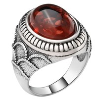 Oval Red Crystal Antique Silver Plated Ring