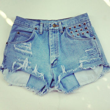 Studded High Waisted Denim Shorts by NewSpiritVintage on Etsy