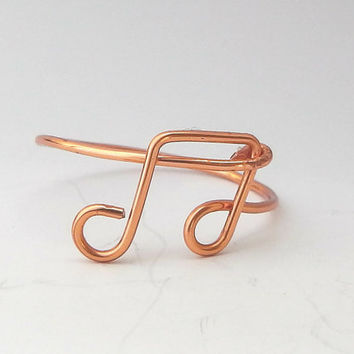 Music Note Ring, Music Lover Gift, Music Jewellery, Copper Wire Ring, Wire Wrapped Ring, Music Ring, Fun Jewellery,