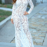 White Sheer Lace Long Sleeve Maxi Dress