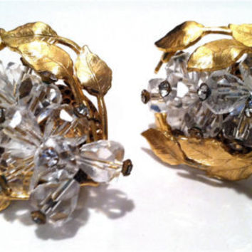 MASSIVE Crystal Faceted Sparkling Clear Rhinestones Art Nouveau Clip on Earrings