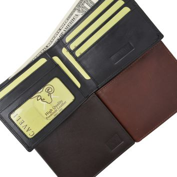 Mens Genuine High Quality Leather ID Card Holder Classic Design Slim Bifold Wallet by Cavelio 730060 (C)