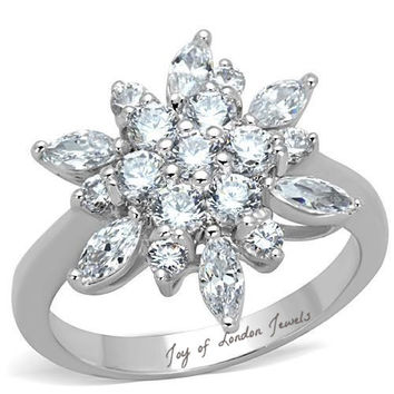 2.65TCW Marquise and Round Cut Russian Lab Diamond Ring
