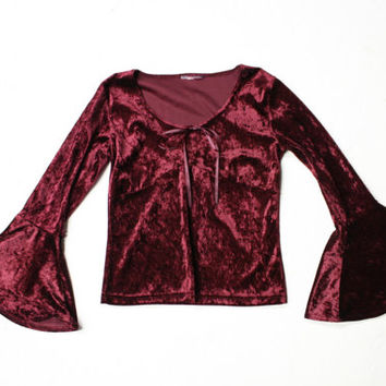 witchy woman bell sleeve crop top / x small / maroon crushed velvet