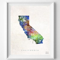 California Poster, Watercolor, Los Angeles, LA Map, Home Town, art, USA, States, America, Wall Decor, Painting, silhouette, state [NO 324]