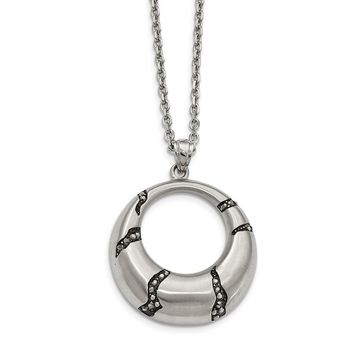 Stainless Steel Antiqued and Brushed Crystal Circle Necklace 20in