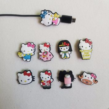 8pcs/lot Hello Kitty USB Cable Protector Data wire protection sleeve Charging line data cable protection for iphone 5 6 7 8 X
