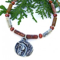 Horse Head Necklace Sky Eye Jasper Pearls Handmade Southwest Equine Jewelry for Women