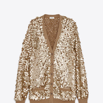 SAINT LAURENT OVERSIZED CARDIGAN IN DEEP GOLD COTTON AND SEQUINS | YSL.COM