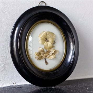 Antique 1800s Mourning Hair in Frame - Victorian Framed Hair Memento Mori