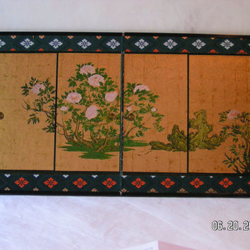 Vintage Japanese Folding Screen Print Oriental Shabby Chic Home Decor
