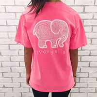 2016 New Summer Style Words ivory ella Women T Shirts Cotton Tee Shirt Femme Pocket Cartoon Elephant Casual Women Tshirt Tops