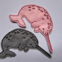 Iron on Patch Basil and Thyme Narwhal Appliques