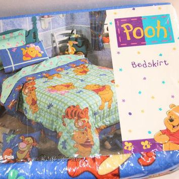 Licensed cool NEW Disney Winnie-the-Pooh Bear & Pals Tigger Dragonfly TWIN Bed Skirt Bedskirt