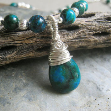 Azurite Malachite Necklace, Teardrop Gemstone Pendant, Wire Wrapped Beaded Jewelry