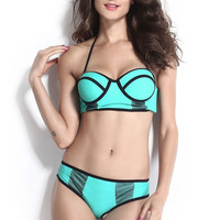 Light Blue Push Up Bikini with Black Sheer Mesh Detail