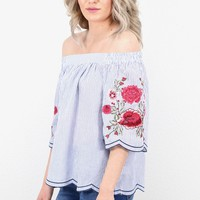 Off Shoulder Poplin Stripes + Floral Embroidery Blouse {Blue} - Size MEDIUM