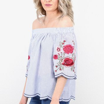 Off Shoulder Poplin Stripes + Floral Embroidery Blouse {Blue}