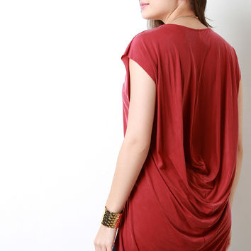 Draped Back Scoop Neck High Low Top