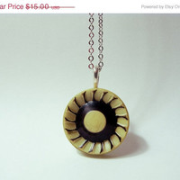 FALL CLEARANCE GEOMETRIC Modern Mod: Spinning Wheel Yellow and Black Celluloid Button Necklace