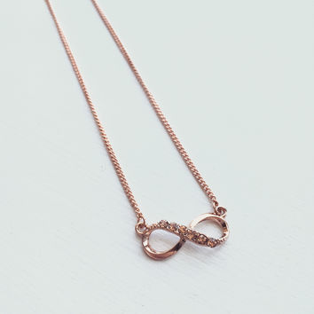 Infinity Rhinestone Necklace - Rose Gold