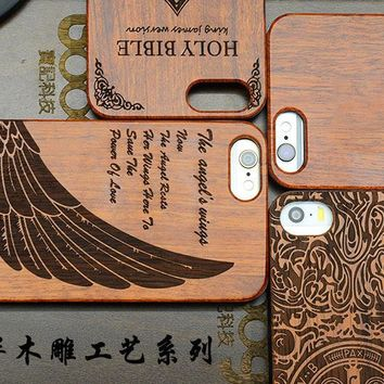 Wooden Case for Apple iPhone 5 5s se Natural Bamboo Carving Design Wood With Durable Plastic Edges cover for iPhone 5s SE