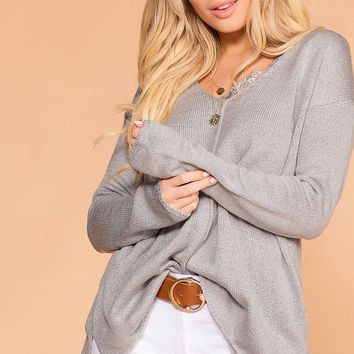 Debra Grey Knit V-Neck Loose Knit Sweater Top