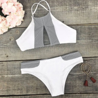 White high neck with gray edge chest holes two piece bikini