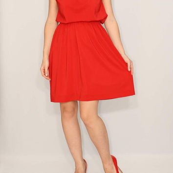 Short Red Dress Bridesmaid Dress Chiffon Dress Keyhole dress Party Dress