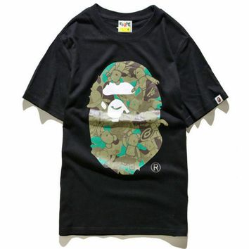 ESBONV Unisex BAPE Monogram Print Cotton T-Shirt Tee Top