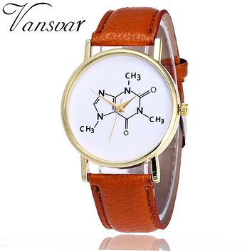 Vansvar Brand Fashion Chemistry Caffeine Molecules Watch Unique Women Wrist Watches Leather Quarzt Watches Relogio Feminino V22