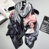 2017 luxury brand Women Silk scarf Beach Shawl and Echarpe Luxurious Wrap Designer scarves Plus Size female beach stole bandana