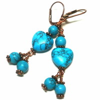 Turquoise Howlite Hearts and Antique Copper Leverback Dangle Earrings
