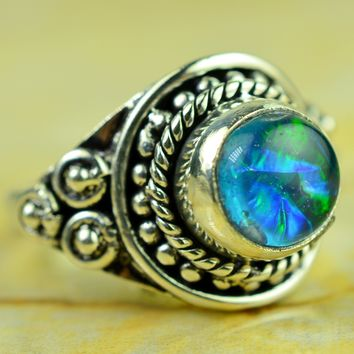 Rare Opal Gemstone Designer 925 Silver Ring Size US#6.00 to US#10.00