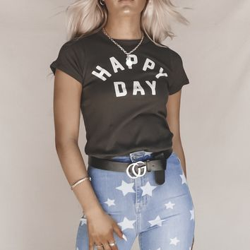 CHASER Happy Day Charcoal Graphic Tee